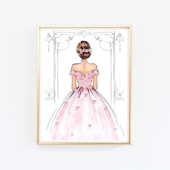 Girly Wall Art Watercolor Fashion Illustration Pink Rose Art Princess Bedroom Art Rose Painting Fashion Wall Art Fashion Poster Art
