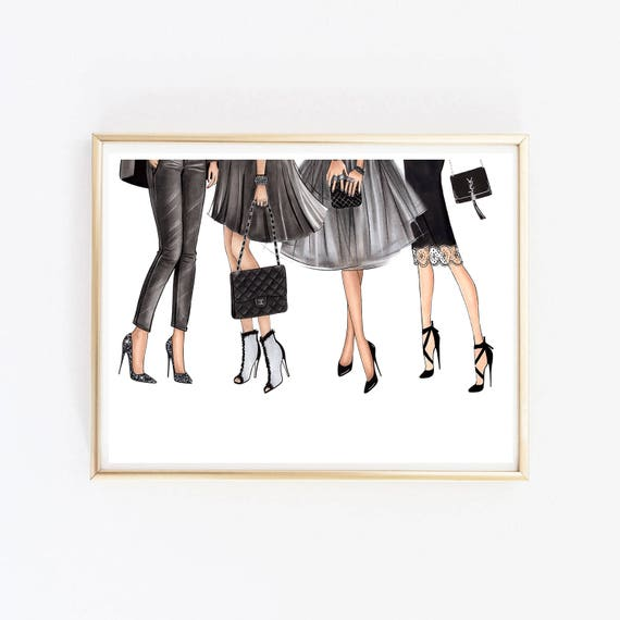 Stampe Artistiche Di Moda Muro Illustrazione Moda Stilista Di Etsy