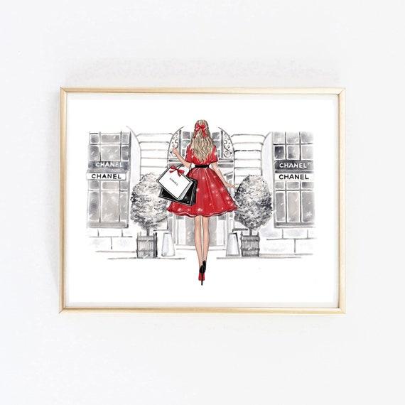 Fashion illustration Christmas Girl 7 Blonde printable art instant download fashion print watercolor illustration