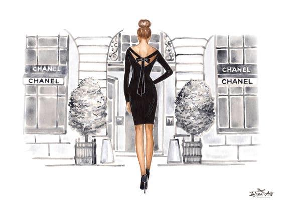 Black And White Watercolor Fashion Wall Art Fashion Sketch Etsy
