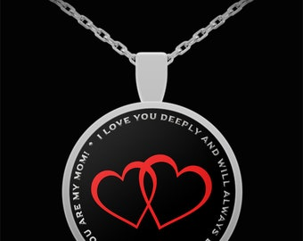 Gift for mother - mom i love you deeply and will always to thankful that you are my mom! - sterling sliver necklace 1 inch