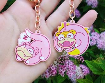 Slowpoke & Galarian Slowpoke Keychains // Acrylic // Cute // Pink // Galar region // Isle of Armor