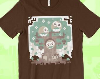 482f80b00 Rowlet T-SHIRT 'Wood Owl Woods' // Pokemon Sun Moon Starters // Owl Pokemon  // Grass Type // Alola Gen7 // Pokemon Gifts