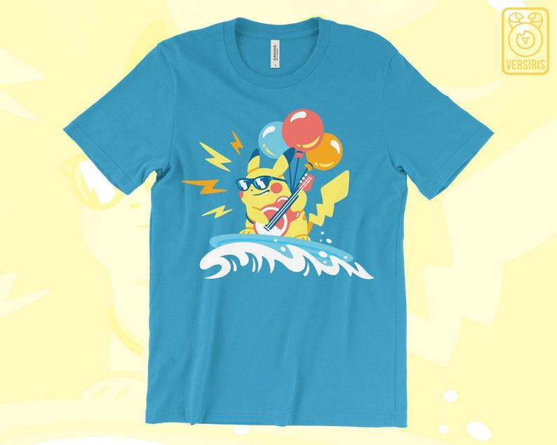 0ba16a3d Surfing Pikachu T-SHIRT // Balloon Guitar Pikachu // Pokemon | Etsy
