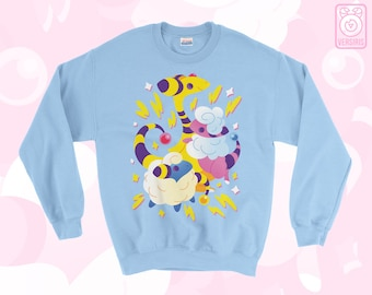 Mareep Flaafy Ampharos SWEATER 'Electric Sheep' // Johto // Gen2 // Electric Type // Cute // Colorful
