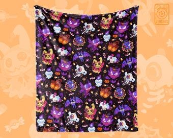 Halloween pkmn THROW BLANKET // All-Over Pattern Print // Ghost Type // Trick or Treat // Mimikyu Haunter Litwick Cubone Pumpkaboo