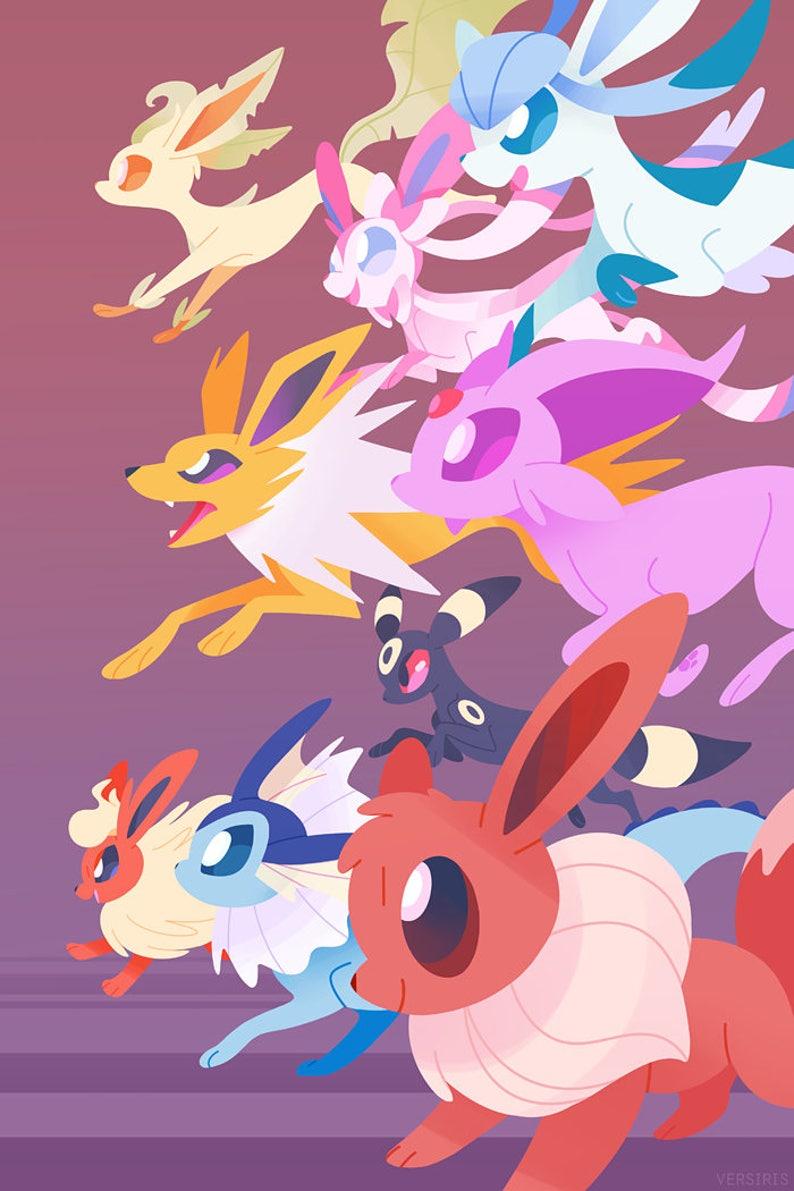 be42d0a825f7 Eeveelutions Art PRINT    Pokemon    Eevee Evolutions