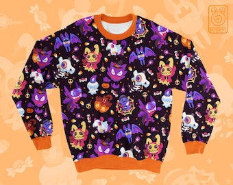 Halloween Pokemon SWEATER // All-Over Pattern Print // Ghost Type // Trick or Treat // Mimikyu Haunter Litwick Cubone Rattata Pumpkaboo