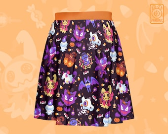 Halloween Pkmn SKATER SKIRT // All-Over Pattern Print // Ghost Type // Trick or Treat // Mimikyu Haunter Litwick Cubone Rattata Pumpkaboo