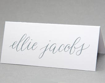 Calligraphy place cards, hand-lettered