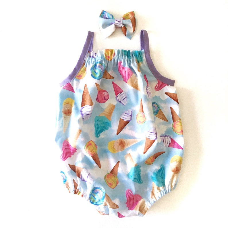 6dacb3622e5 Felicity Romper Baby Girl Ice Cream Romper with snaps