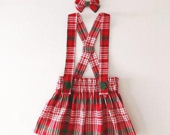 Danica Suspender Skirt (baby and toddler Christmas plaid suspender skirt)