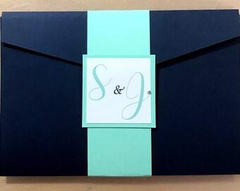 Navy pocket wallet fold wedding invitation  *various colours available*