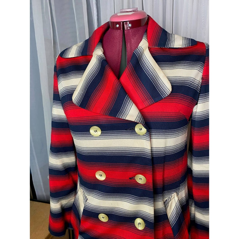 Vintage bicentennial red white and blue 70s trench coat sz M