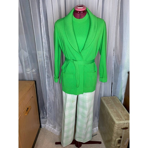 1970s lime green sweater top pant set
