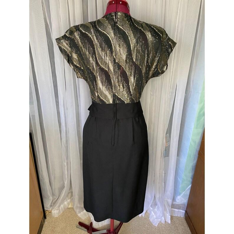 80\u2019s black and gold shirtwaist dress sz S