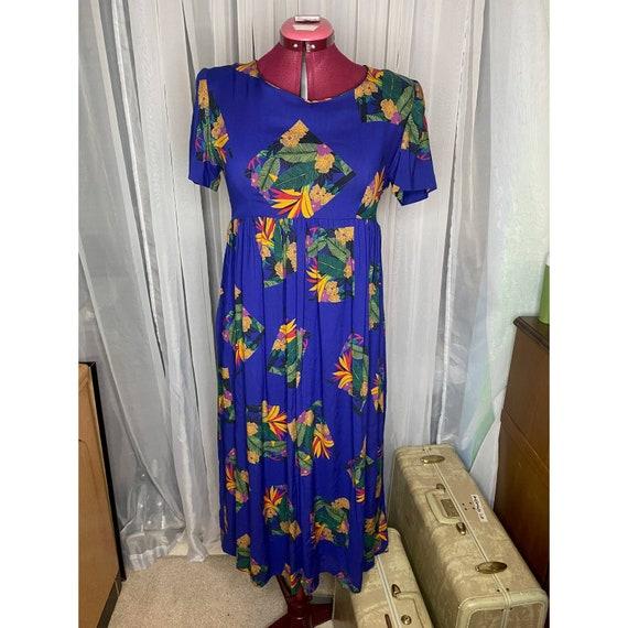 dress 80s empire waist swing skirt - image 1