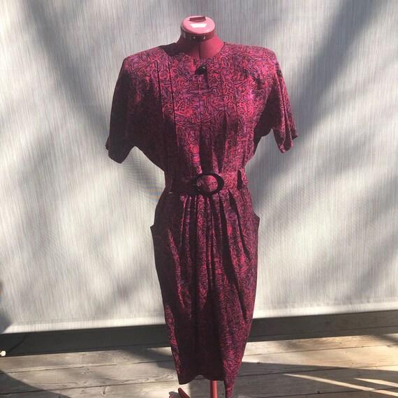 80s shirt dress puff sleeve shoulder pads