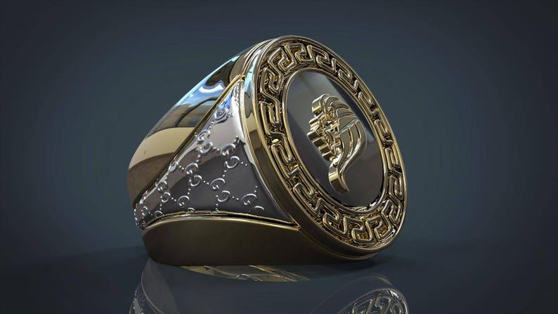 4eed9f29fad2 Anillo de oro joyería Gucci para hombre estilo Pinky anillo