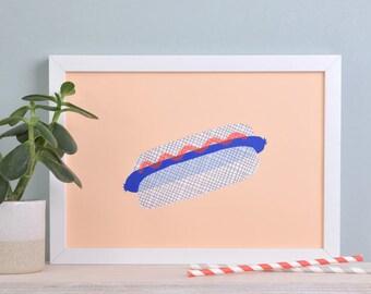 "Art print ""Hot Dog"" — salmon / handprinted"