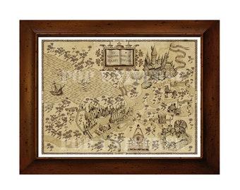 Harry Potter Digital Art Print   Wizarding World Map, Harry Potter Decor,  Harry Potter Art, Harry Potter Poster, Harry Potter Wall Art