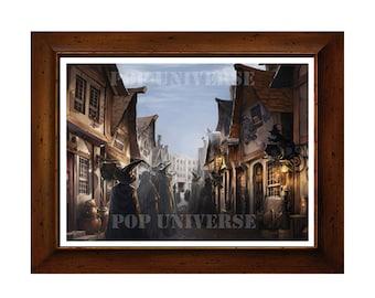 Harry Potter Digital Art Print  - Diagon Alley,  Harry Potter Decor, Harry Potter art, Harry Potter poster, Harry Potter wall art