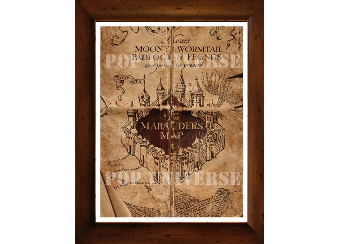 Harry Potter Digital Art Print Used Marauders Map Harry   Etsy