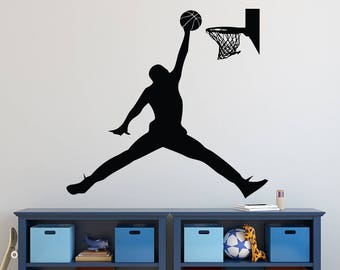 huge discount ff627 2481a Michael Jordan Wall Decal - Basketball Wall Decal - Sports Decal - Jumpman  Boys Room Wall Art - Kids Vinyl Wall Decal