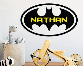 Batman Name Wall Decal - Kids Vinyl Wall Decal - Batman Wall Art - Superhero Spiderman Disney Avengers Decor - Boys Bedroom Decor  sc 1 st  Etsy & Batman wall decal | Etsy