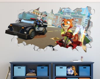 Zootopia Friends Judy Hopps Nick Wilde Wall Decal - Zootopia Smashed Sticker - Movie Kids 3D Smashed Art - LS356