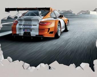Car Porsche 911 Gt3 Wall Decal - Car Porsche 911 Sport Smashed Sticker - Car 3D Smashed Art - LS55