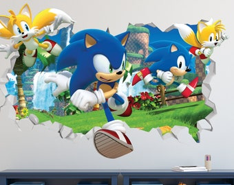 Sonic The Hedgehog Speed Wall Decal - Sonic The Hedgehog Smashed Sticker - Kids Games 3D Smashed Art - LS91