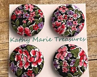Elegant floral cloth magnets, holiday gift, teacher gift, fridge magnet set, coworker gift, house warming, fridge magnets, fabric magnet