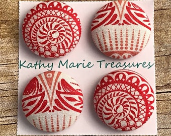 Unique patterned orange and white cloth magnets, teacher gift, holiday gift, house warming gift, fabric magnet, fridge magnet, coworker