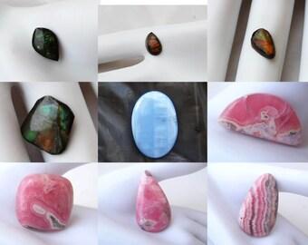 Loose Ammolite Gemstone,Very Rare Semiprecious Gemstone Ammolite Cabochon,Rhodochrosite Blue Opal