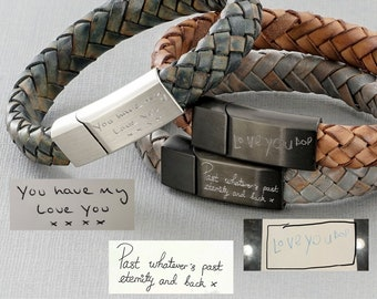 Actual Handwriting Leather Bracelet, engraved with your handwriting on the front or inside of the clasp, boyfriend gift christmas