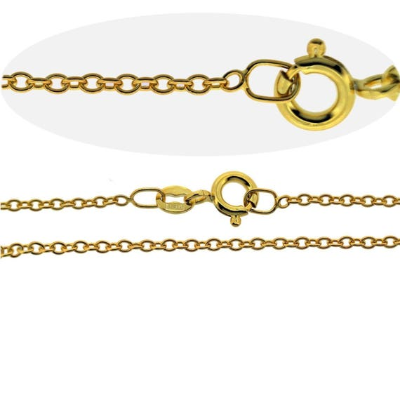 """9CT Gold Plated Fine 1.4mm Curb Chain Necklace 16 18 20 22 24 26 28 30 40/"""" Inch"""
