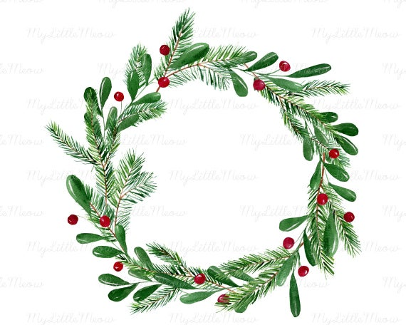 Christmas Wreath Png.Christmas Watercolor Wreath Clipart Winter Clip Art Winter Digital Download Wreath Png Christmas Decoration Digital Download W43