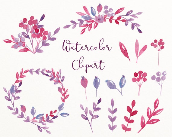 Red Purple Wedding Clip Art Branch And Berry Wreath Clipart Wedding Clipart Watercolor Digital Download Branch Berry C13