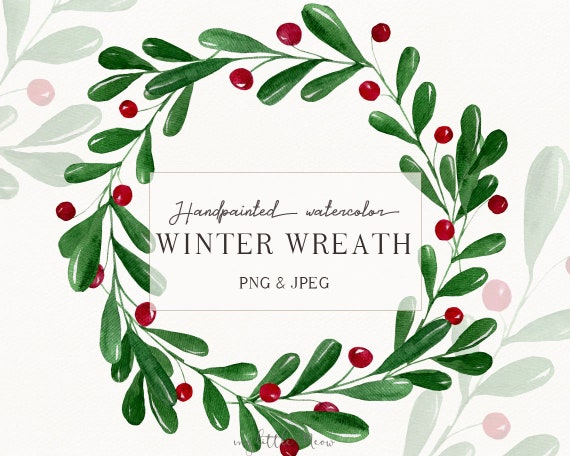 Watercolor Christmas Wreath Png.Christmas Watercolor Wreath Winter Clipart Wreath Png Winter Digital Download Christmas Watercolor Art Holiday Wreath Png W42