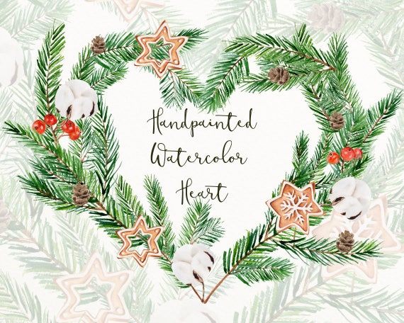 Christmas Heart Png.Christmas Heart Clip Art Png Holiday Wreath Clipart Winter Watercolor Digital Download Winter Graphic Christmas Watercolor H8