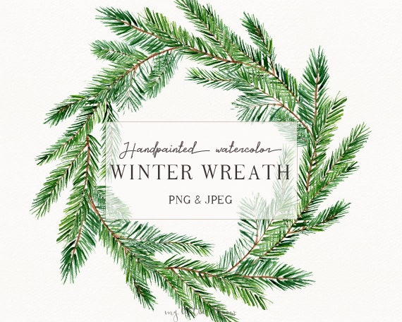 Watercolor Christmas Wreath Png.Winter Watercolor Clipart Christmas Watercolor Wreath Clip Art Holiday Wreath Minimalist Wreath Png Floral Digital Download W41