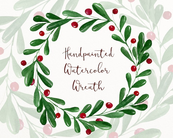 Christmas Wreath Png.Christmas Watercolor Wreath Winter Clipart Wreath Png Winter Digital Download Christmas Watercolor Art Holiday Wreath Png W42