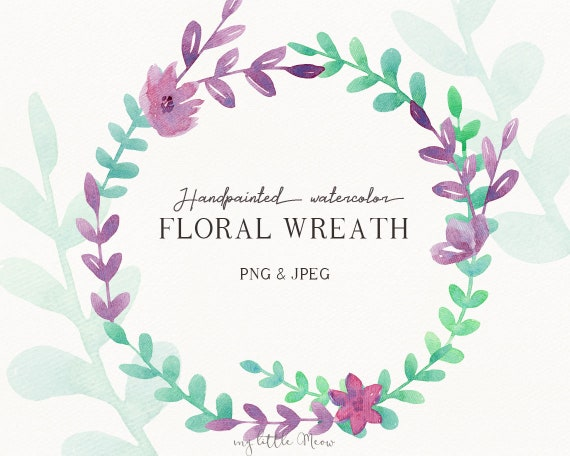 Hand Painted Sketch Flower Wedding Wreath Floral Banner Png Watercolor Digital Download Purple Green Clipart W65