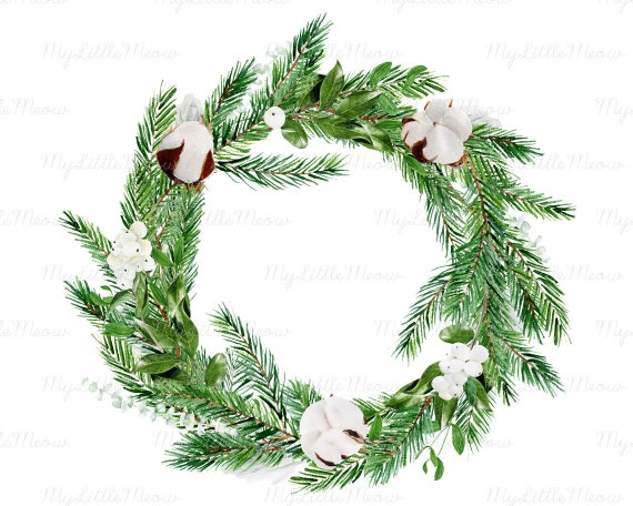 Christmas Branch Png.Watercolor Christmas Wreath Christmas Watercolor Png Digital Download Watercolor Clipart Winter Clip Art Pine Branches Green W95