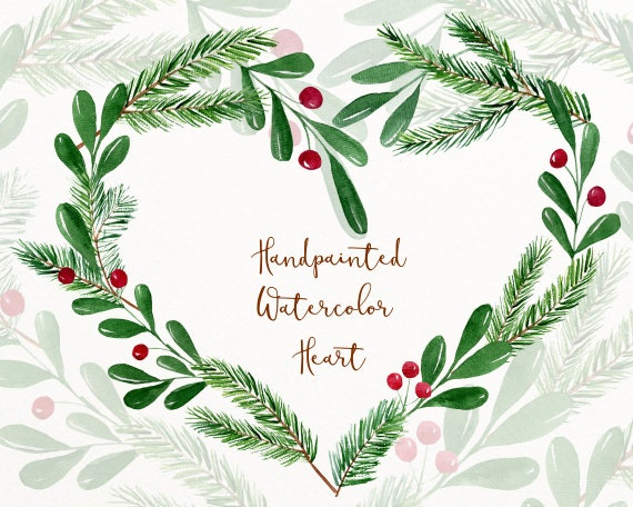 Christmas Heart Png.Winter Watercolor Clipart Winter Clip Art Christmas Digital Download Christmas Wreath Watercolor Clipart Heart Wreath Png H6