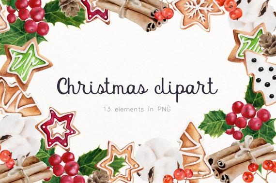 Christmas Clipart Png.Christmas Clipart Png Watercolor Digital Download Christmas Cookie Exchange Holiday Cookie Printable Set Winter Decorating C6