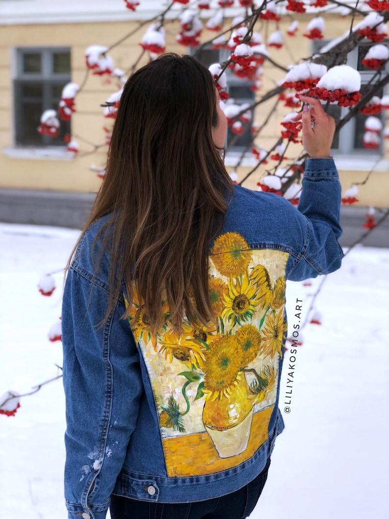 Hand painted custom denim jacket Van Gogh Sunflowers \u2022read the description\u2022