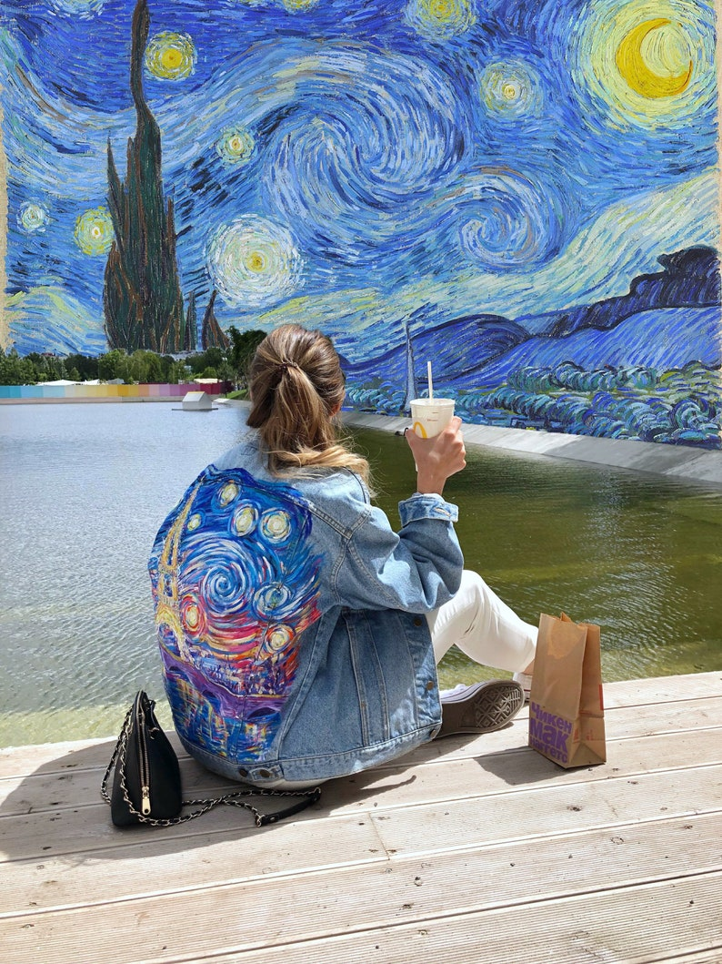 Van Gogh Paris Starry Night Painted Denim Jacket Price For The Painting Custom Jacket One Of A Kind Gift