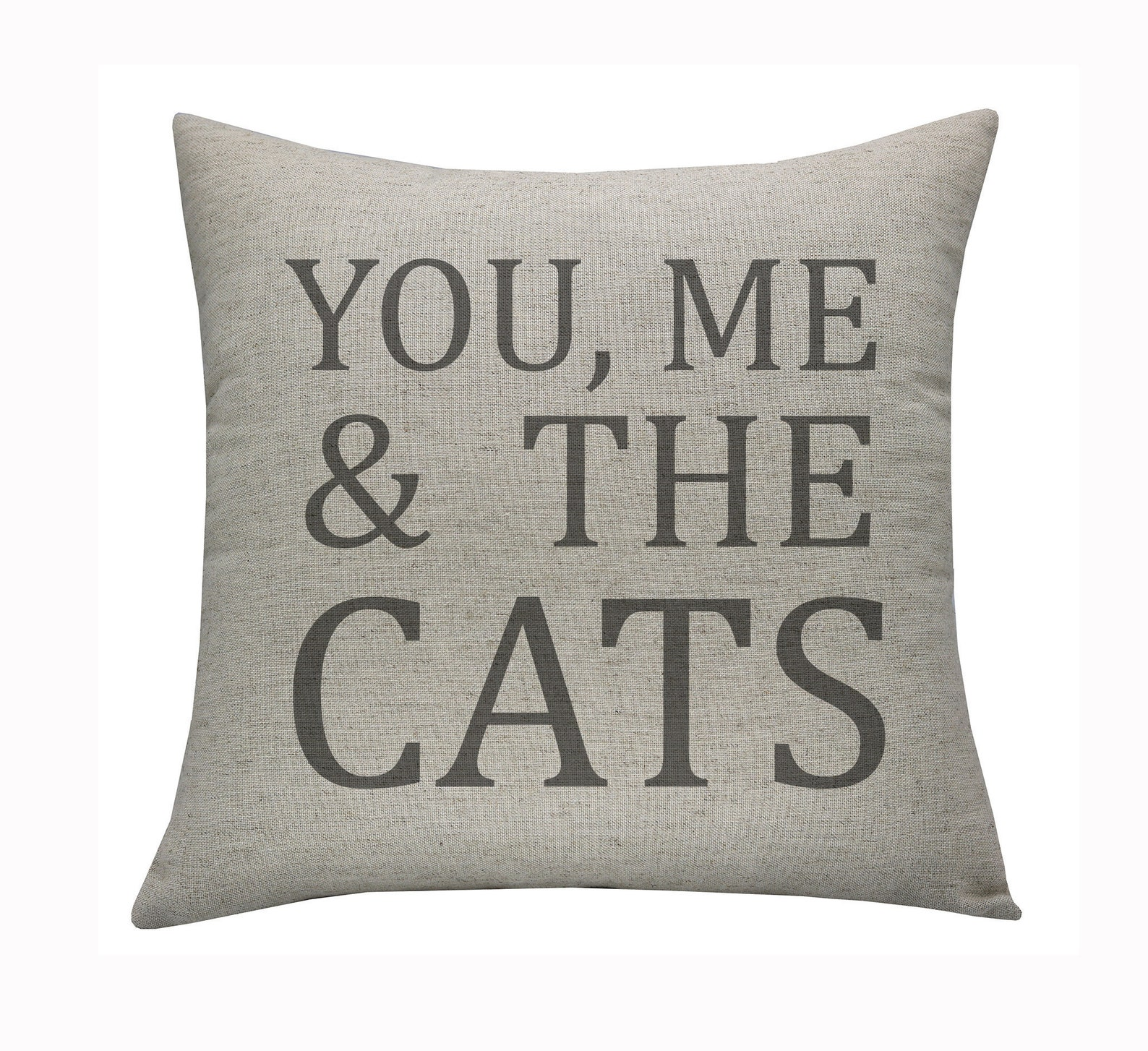You, Me & the Cats Embroidered Pillowcase